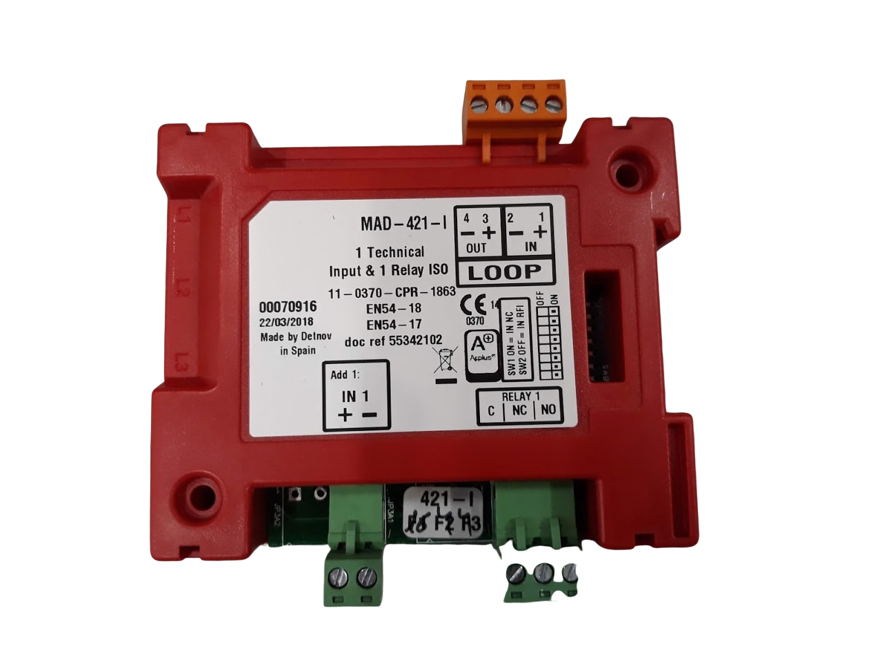 Picture of MAD-421-I  Διευθυνσιοδοτούμενο Module Παρακολούθησης Και Ελέγχου 1 Εισόδου Με Ενδεικτικό Λειτουργίας Για Έλεγχο Συσκευών Και 1 Έ